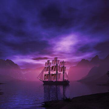Clipper Ship at Sunset by fotokatt
