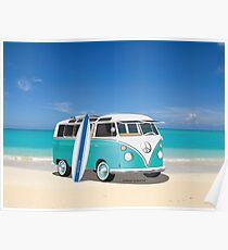 Surfer Hippie Split Window VW Bus Teal Surfboard & Ocean Poster