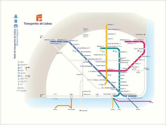 Metro Map Lisbon Portugal.Lisbon Metro Map Portugal Art Prints By Superfunky Redbubble