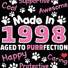 Made In 1998 Aged To Purrfection - Birthday Shirt For Cat Lovers by wantneedlove