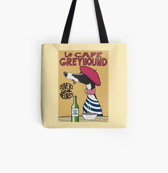 Le Café Greyhound All Over Print Tote Bag