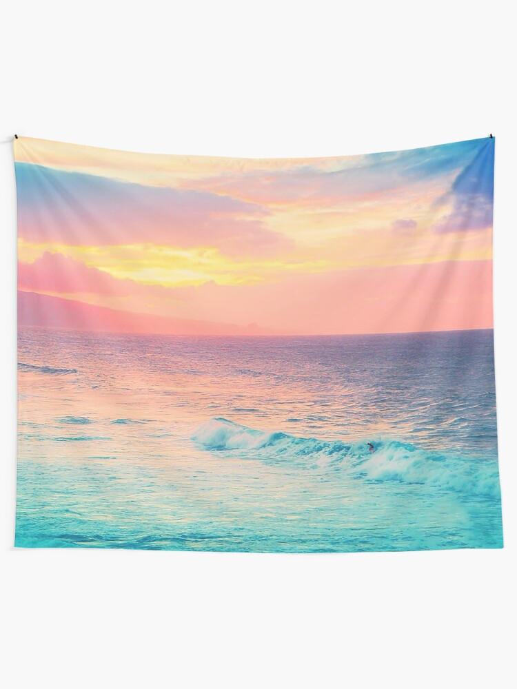 Alternate view of Hookipa Surf Sunset Tapestry