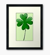 Low Poly, Geometric Four Leaf Clover Framed Print