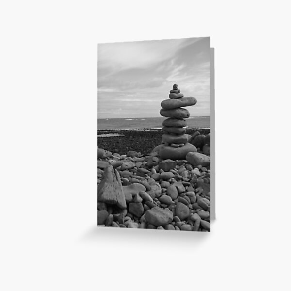 Tower of Pebbles on a beach Greeting Card