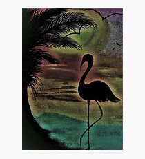 TROPICAL SUNSET SILHOUETTE FLAMINGO Photographic Print