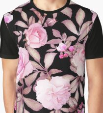 FLORAL BLACK & PINK Graphic T-Shirt