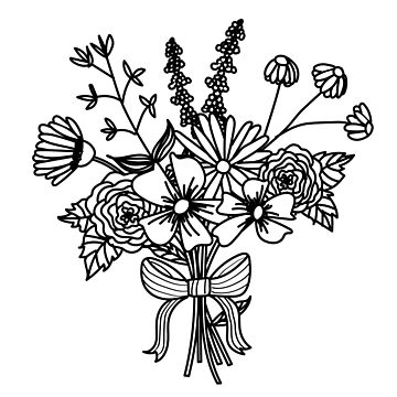 Black and White Botanical Bouquet by bombinodesigns
