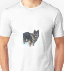 Belgian Shepherd in the snow Unisex T-Shirt