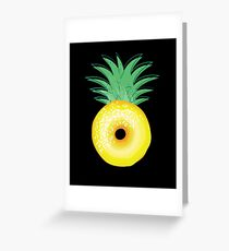 Funny Pineapple Donut Surrealist Art - Surreal Fruit Greeting Card