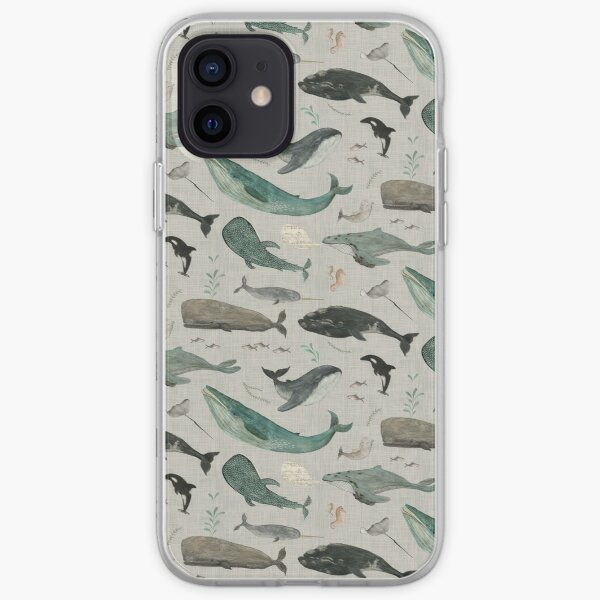 Whale song gray iPhone Soft Case