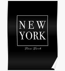 New York City - Schwarz-Weiß-Typografie Kunst Poster