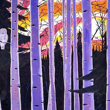 White Owl, Purple Birch Trees, Alaska Aspen Trees Forest, Sunset, Scott Clendaniel by realartisbetter