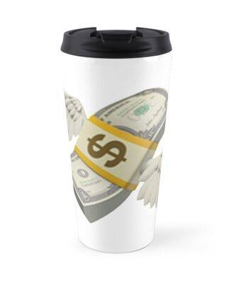 Flying Money Emoji Travel Mugs By Emojiqueen Redbubble