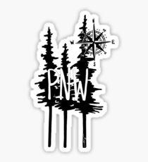 Pacific Northwest Trees & Compass Sticker