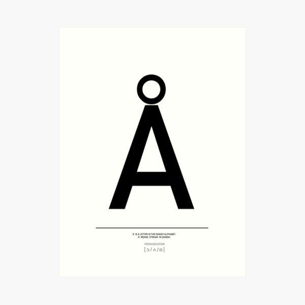 Danish Å letter, Scandi style, Danish alphabet Print Art Print