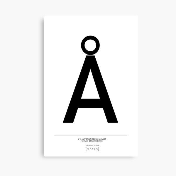 Danish Å letter, Scandi style, Danish alphabet Print Canvas Print