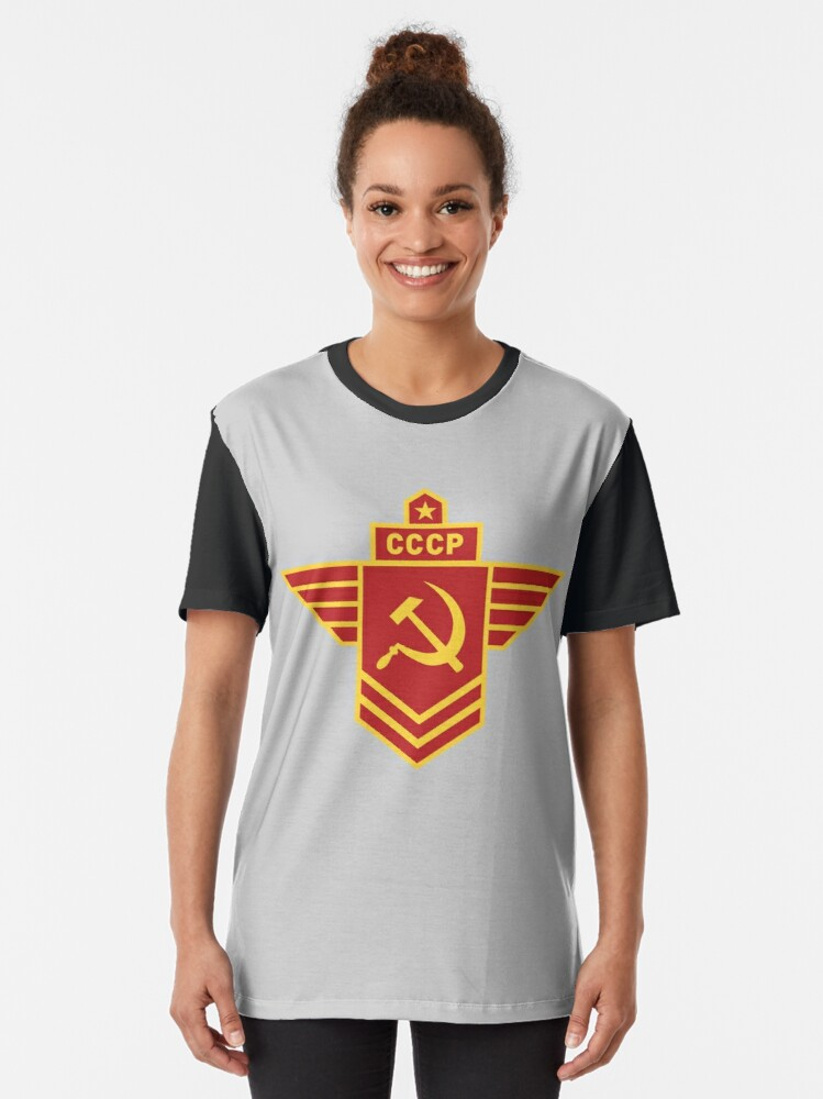 Hammer And Sickle Star CCCP Long Sleeved Mens Loose Fit Cotton T-Shirt