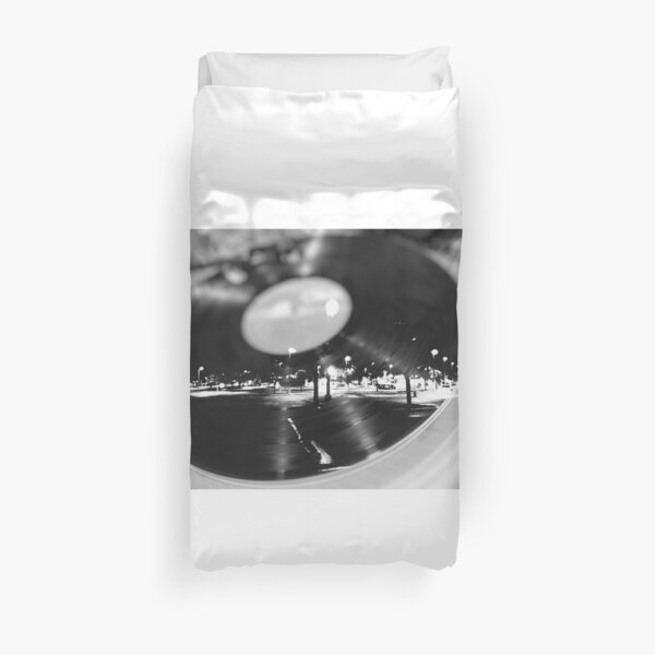 Music Record Night  Duvet Cover