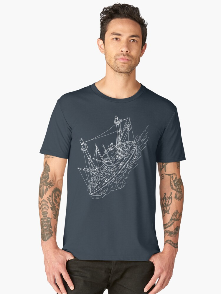 Fishing Boat Drawing Men's Premium T-Shirt Front