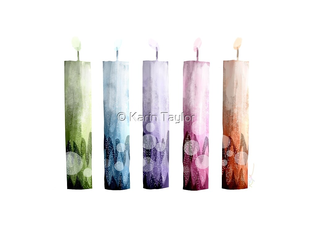 Rainbow Candles by Karin Taylor