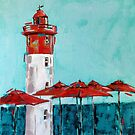 lighthouse painting with red umbrellas by Julie Mayo