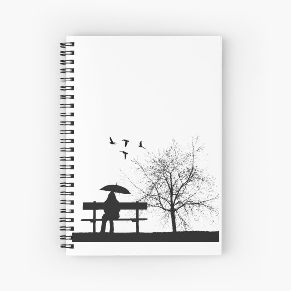 Girl on Bench Spiral Notebook