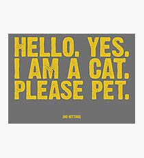 HELLO. YES. I AM A CAT. Photographic Print