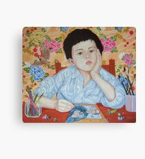 Double Take boy sketching Canvas Print