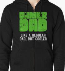 Gamer Dad Like A Regular Dad But Cooler Retro Gaming Zipped Hoodie