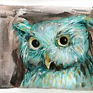 Blue Owl painting by Julie Mayo