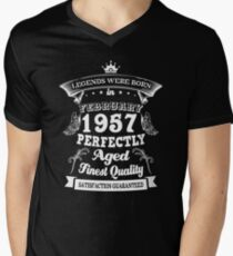 Legends Were Born In February 1957 Perfectly Aged Finest Quality Limited Edition Men's V-Neck T-Shirt