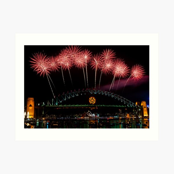 NYE 2008: Midnight Fireworks at McMahons Point Art Print