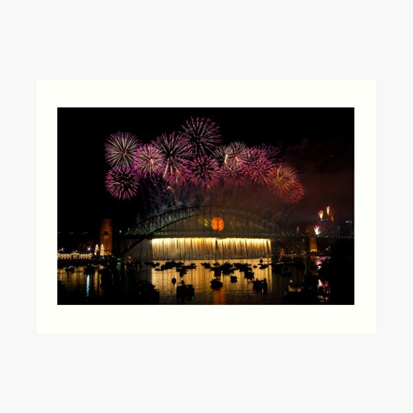 NYE 2008: Midnight Fireworks at McMahons Point Art Print