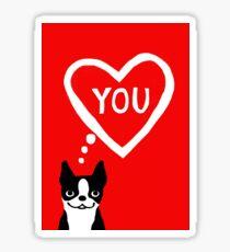 Boston Terrier Valentine Love Card Sticker