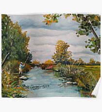 fly fishing river tree Poster