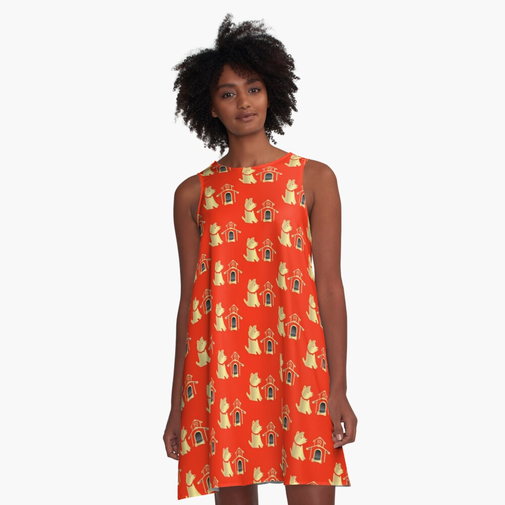 Red and Gold Year of the Dog A-Line Dress