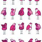 Gossip Birds Pink by Lisafrancesjudd