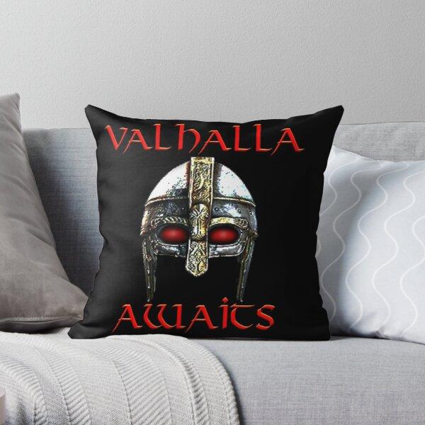 Valhalla Awaits - Viking Helmet, Norse Mythology Throw Pillow