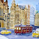 Tram in Latrobe Street, Melbourne by Virginia  Coghill