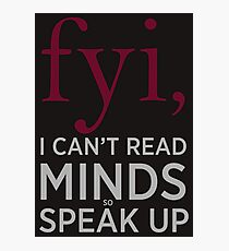Funny and Clever Mind Reading Typography Photographic Print