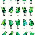 Gossip Birds Green by Lisafrancesjudd