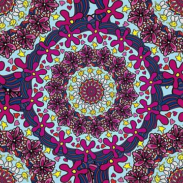 Retro Kaleidoscope Doodle Art  by Gravityx9