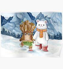 Brown bear and polar bear - Watercolor illustration Poster