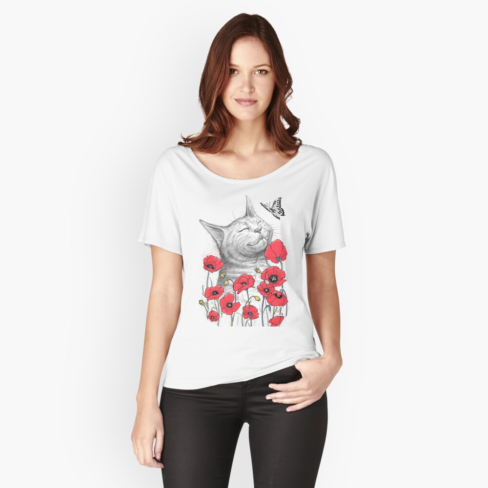 Cat in poppies Loose Fit T-Shirt
