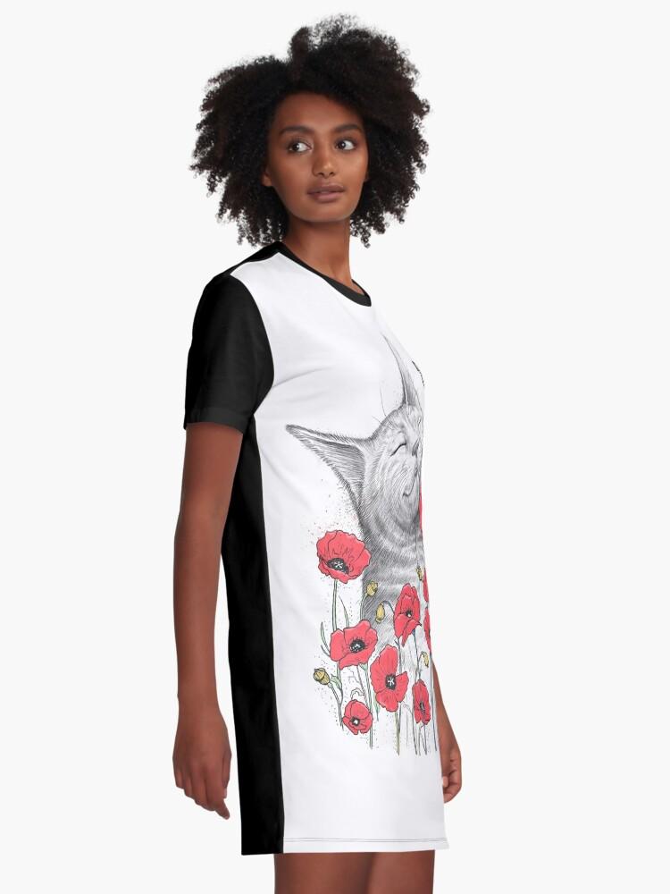 Alternative Ansicht von Cat in poppies T-Shirt Kleid