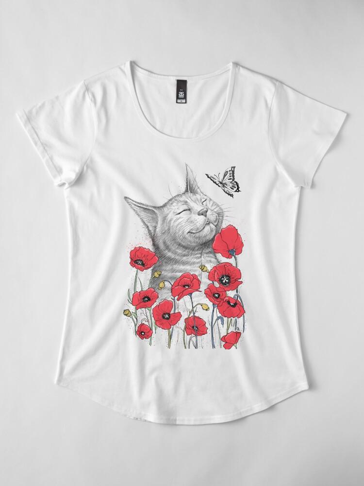 Alternative Ansicht von Cat in poppies Premium Rundhals-Shirt