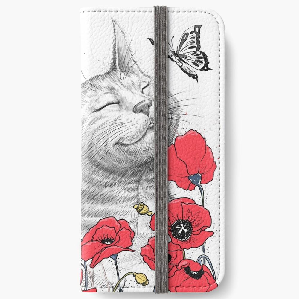 Cat in poppies iPhone Flip-Case