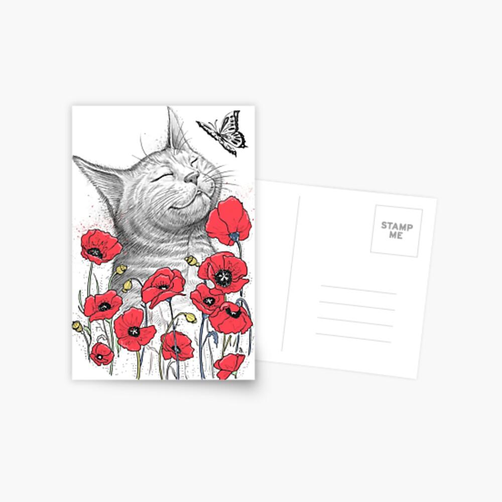 Cat in poppies Postkarte
