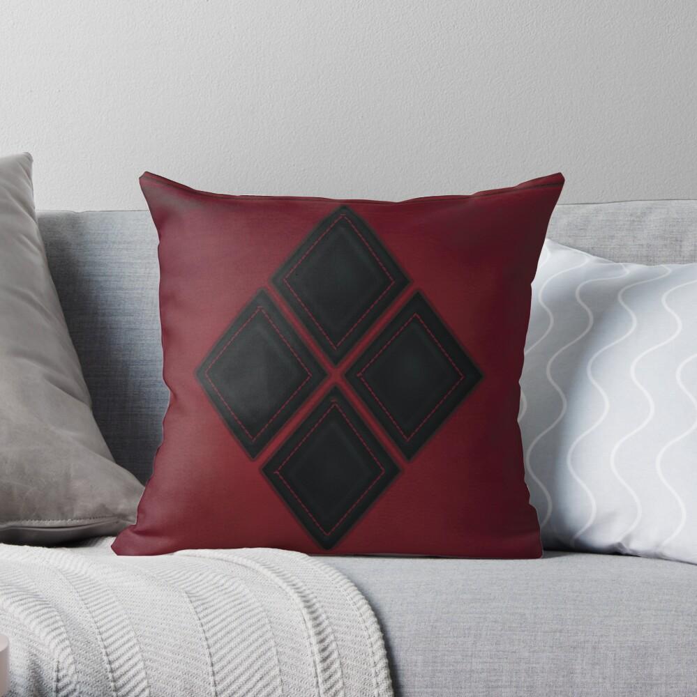 Patchwork Red & Black Leder Effekt Motley mit Diamant Patches 4 Dekokissen