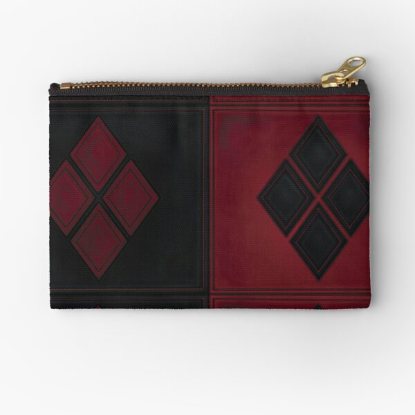 Patchwork Red & Black Leather Effect Motley with Diamond Patches 4 Zipper Pouch
